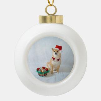 Ornement en céramique de boule de Père Noël