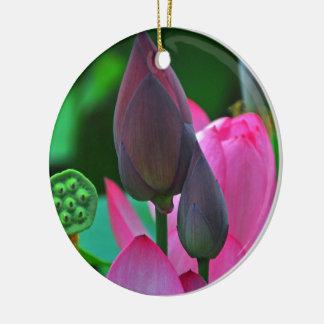 Ornement en céramique de fleur rose de Lotus
