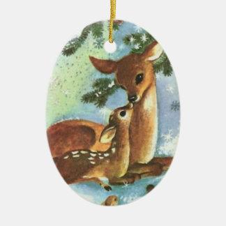 Ornement en céramique de Noël de cerfs communs de