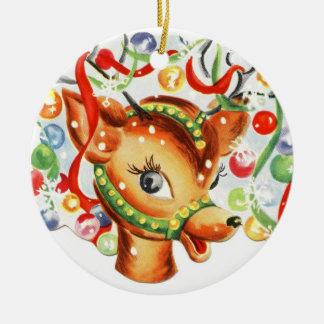 Ornement en céramique de Noël de renne vintage