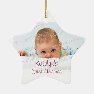 Ornement en céramique de premier Noël de bébé