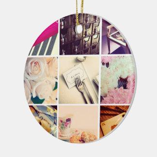 Ornement en céramique d'Instagram de collage fait