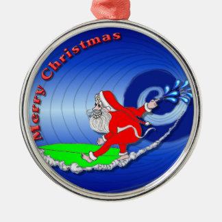 Ornement en céramique surfant de Père Noël