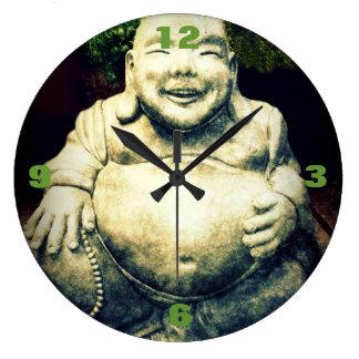 Ornement en pierre de ventre de Bouddha Grande Horloge Ronde