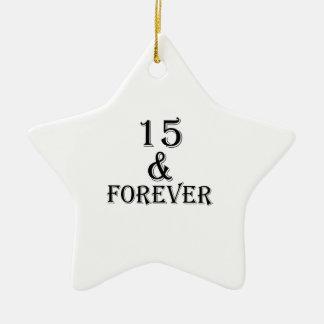 Ornement Étoile En Céramique 15 et pour toujours conceptions d'anniversaire
