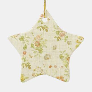 Ornement Étoile En Céramique 2 floraux