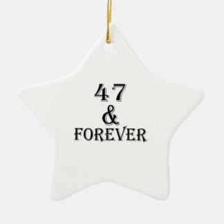 Ornement Étoile En Céramique 47 et pour toujours conceptions d'anniversaire