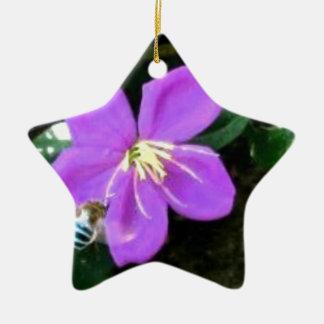 Ornement Étoile En Céramique Abeille et fleur bleues