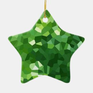Ornement Étoile En Céramique Abrégé sur vert mosaïque en verre souillé de forme
