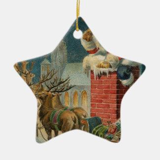Ornement Étoile En Céramique Affiche 1906 clous de Père Noël de cru original