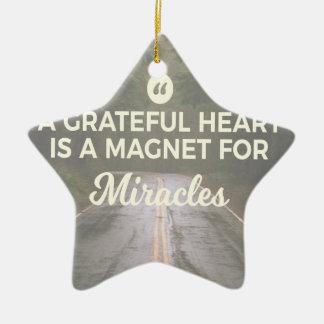Ornement Étoile En Céramique Aimant reconnaissant de miracle de coeur
