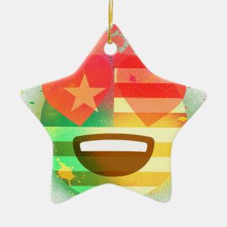 Ornement Étoile En Céramique Aimez l'art de peinture de jet d'Emoji de drapeau