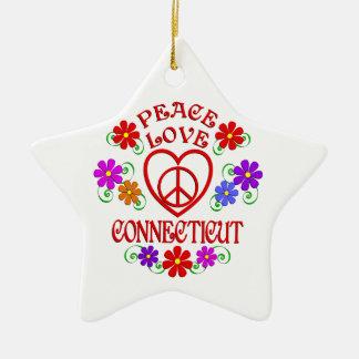 Ornement Étoile En Céramique Amour Conecticut de paix