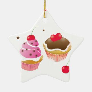 """Ornement Étoile En Céramique """"Amour de cupcakes"""""""