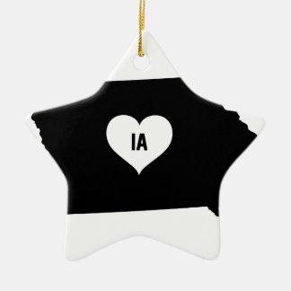 Ornement Étoile En Céramique Amour de l'Iowa