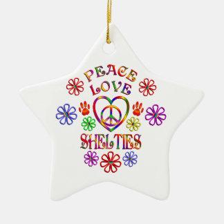 Ornement Étoile En Céramique Amour Shelties de paix