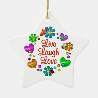 Ornement Étoile En Céramique Amour vivant de rire d'amusement