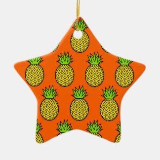 Ornement Étoile En Céramique Ananas oranges tropicaux