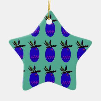 Ornement Étoile En Céramique Ananases de conception bleus