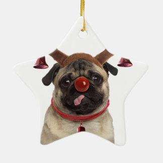 Ornement Étoile En Céramique Andouillers de carlin - carlin de Noël - Joyeux