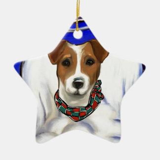 Ornement Étoile En Céramique Ange de Jack Russell Terrier