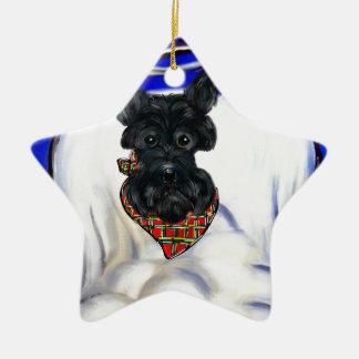 Ornement Étoile En Céramique Ange noir de Terrier d'écossais