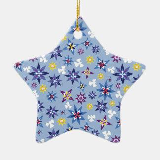 Ornement Étoile En Céramique Anges de neige dans le bleu