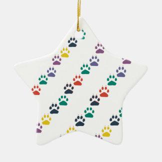 Ornement Étoile En Céramique Animal domestique coloré de pattes et