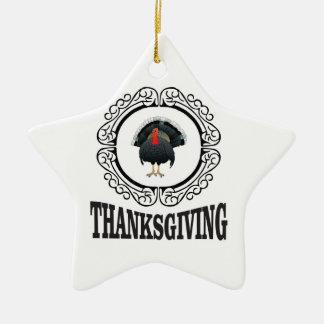 Ornement Étoile En Céramique Anneau de thanksgiving