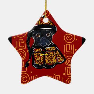 Ornement Étoile En Céramique Année noire de carlin du chien