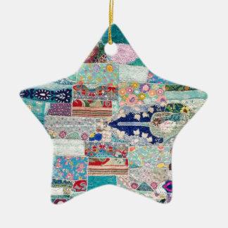 Ornement Étoile En Céramique Aqua et conception bleue de tapisserie d'édredon