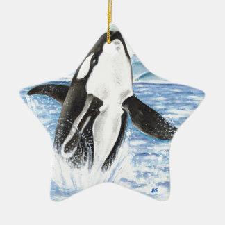 Ornement Étoile En Céramique Aquarelle ouvrant une brèche la baleine d'orque