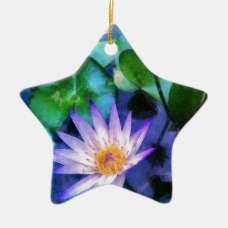 Ornement Étoile En Céramique Aquarelle pourpre de Lotus