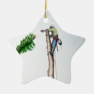 Ornement Étoile En Céramique Arboriste de chirurgien d'arbre au présent de