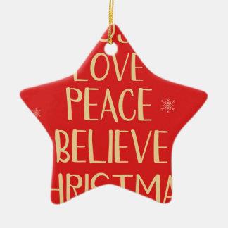 Ornement Étoile En Céramique Arbre de Noël conceptuel des mots. Backgrou rouge