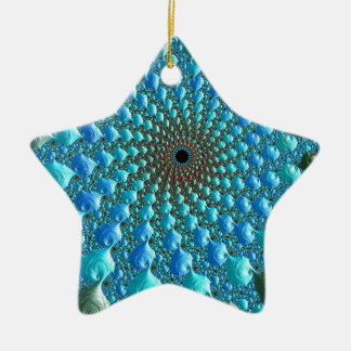 Ornement Étoile En Céramique Art de fractale d'arc-en-ciel