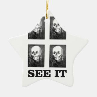 Ornement Étoile En Céramique art de quatre crânes