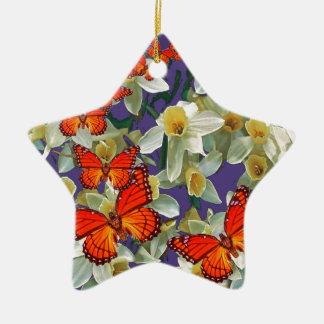 Ornement Étoile En Céramique Art orange de narcisse de papillons de monarque