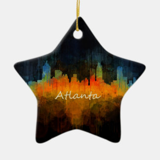 Ornement Étoile En Céramique Atlanta Ville Watercolor Skyline v4 Dark
