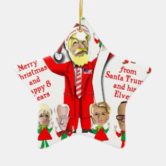 Ornement Étoile En Céramique Atout de Père Noël et ses elfes
