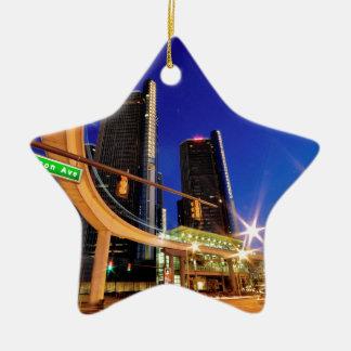 Ornement Étoile En Céramique Avenue de Detroit Michigan Jefferson