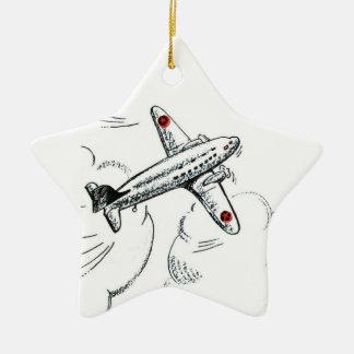 Ornement Étoile En Céramique Aviation démodée de dessin de l'avion |