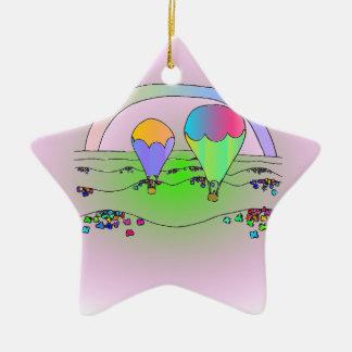 Ornement Étoile En Céramique Ballons à air chauds d'arc-en-ciel