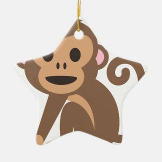 Ornement Étoile En Céramique Bande dessinée heureuse de singe