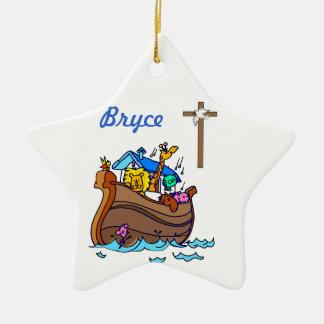 Ornement Étoile En Céramique Baptême de bébé de l'arche de Noé personnalisable,
