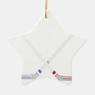 Ornement Étoile En Céramique Bâtons de hockey et galet de glace