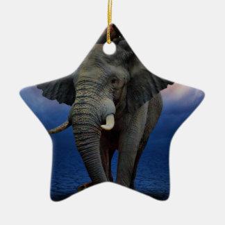 Ornement Étoile En Céramique beau heureux de bébé d'éléphant de joie animale