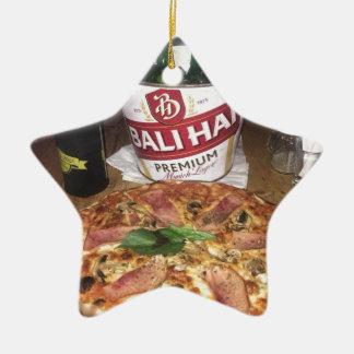 Ornement Étoile En Céramique Bière et pizza de Bali
