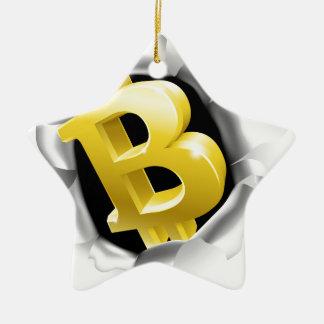 Ornement Étoile En Céramique Bitcoin cassant le concept de mur d'arrière - plan