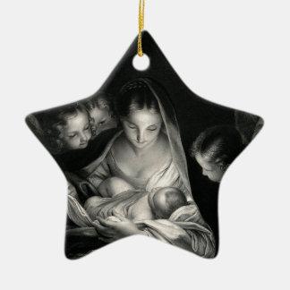 Ornement Étoile En Céramique Blanc de noir d'anges de Vierge Marie de Jésus de